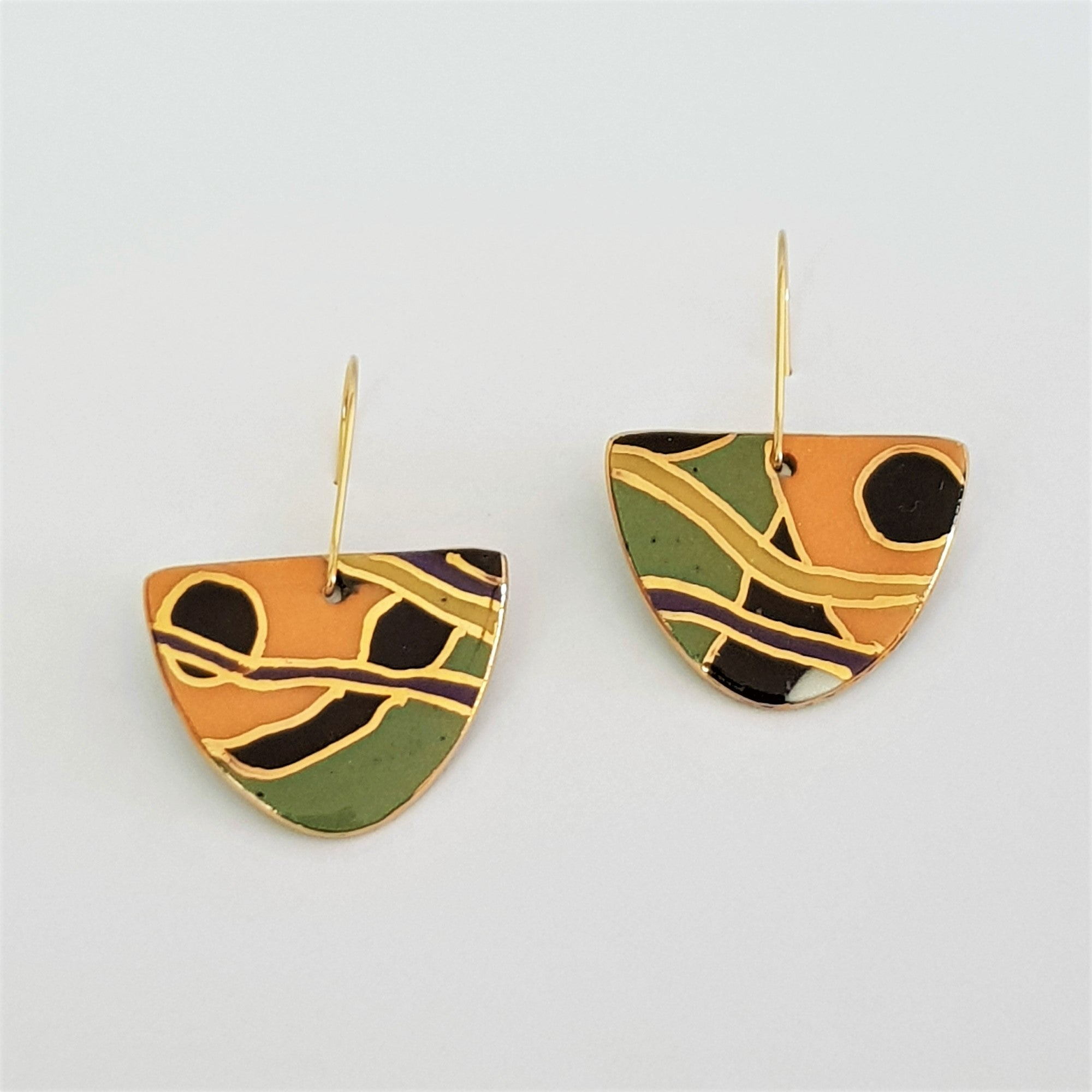 dangle earrings in green , orange and black with gold