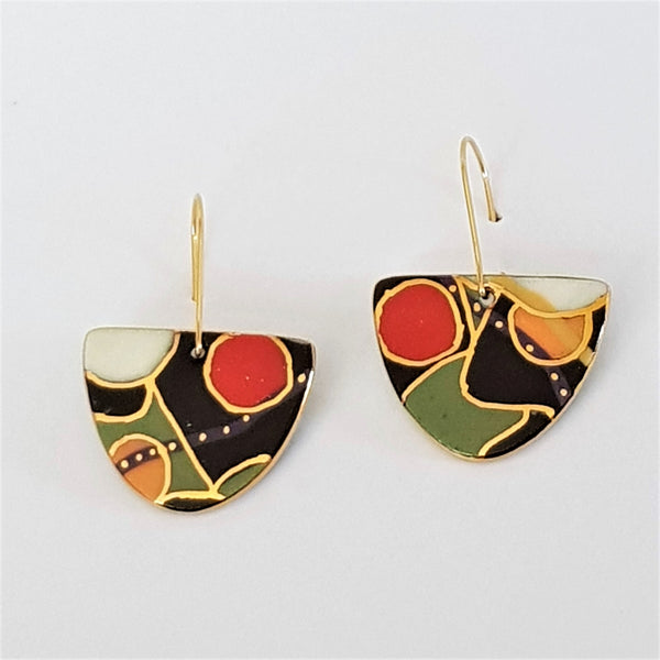 black, red and green abstract patterned drop earrings
