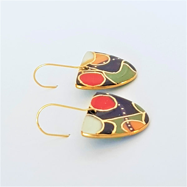 Bold abstract designed porcelain dangles