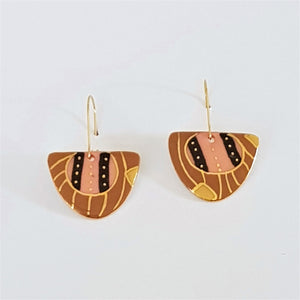 Abstract design D shaped porcelain earrings in earth tones with gold