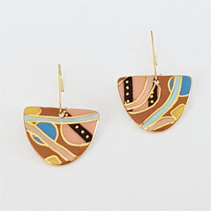 D shaped porcelain dangle earrings in earth tones