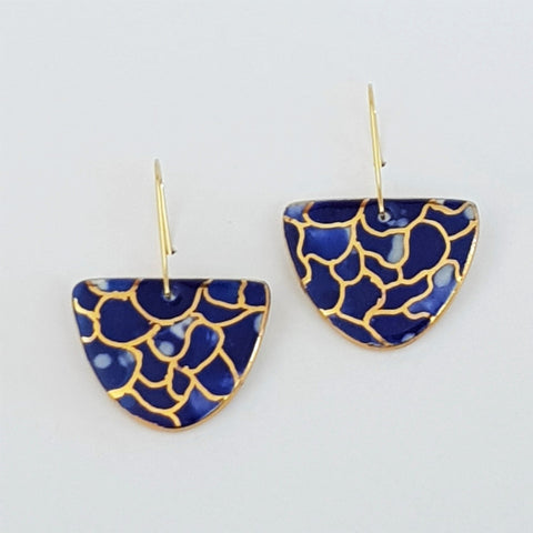 D dangle earrings , indigo design with gold linework