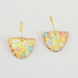 D shaped drop earrings in soft pastels and gold