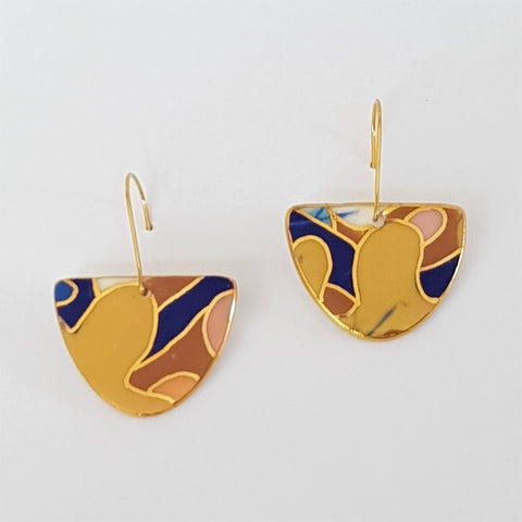 D dangle earrings in mustard and navy with 22kt gold linework