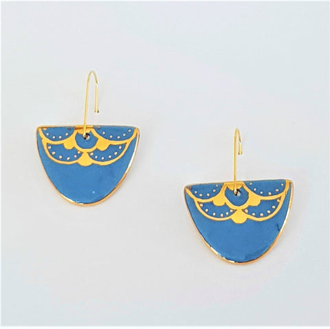 D Dangle porcelain earrings in powder blue with 22 kt gold linework