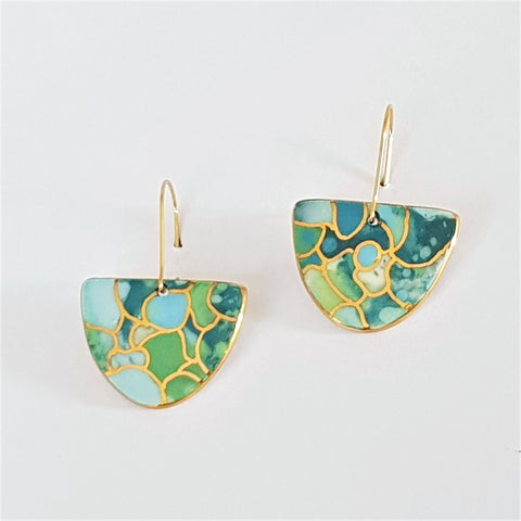 oceanic porcelain drop earrings with gold