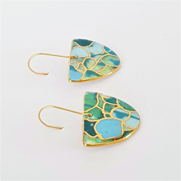 D dangle earrings in teals and blues with gold highlights