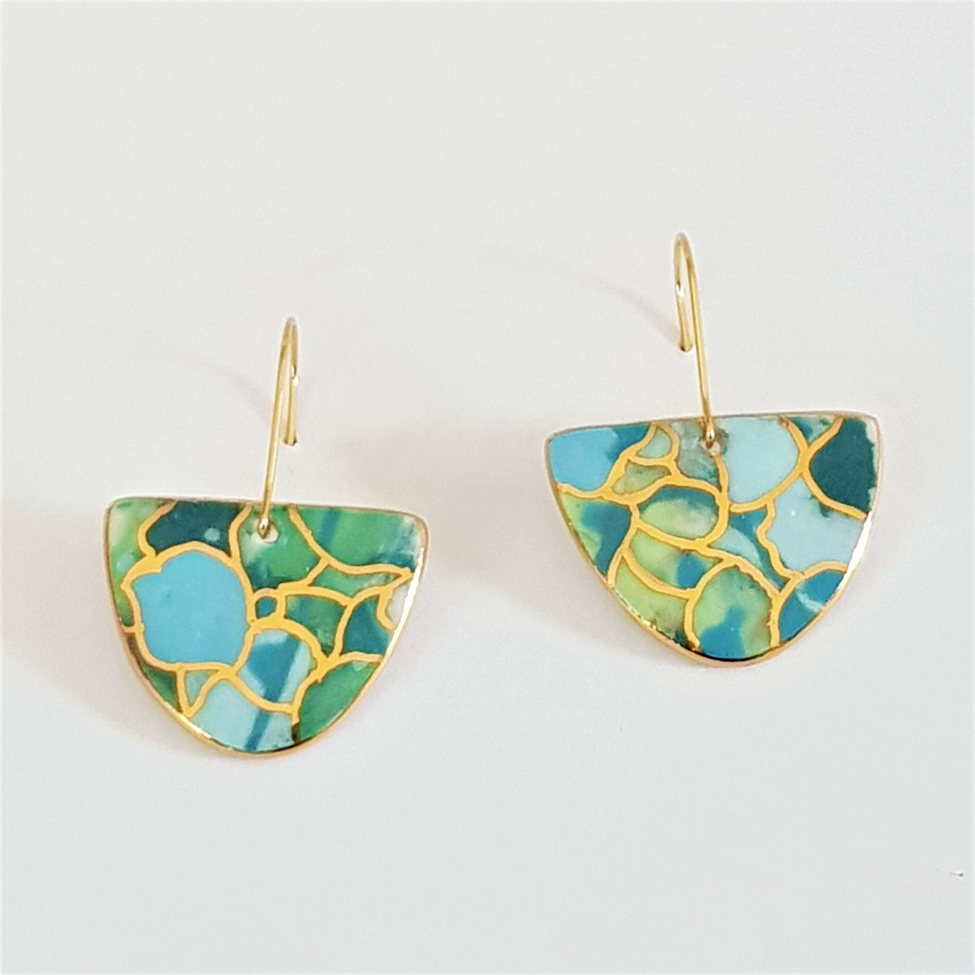 D dangle earrings in teals and blues with gold