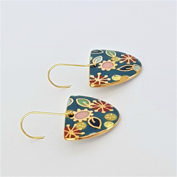 "Teal ""Straya"" D dangle earrings"