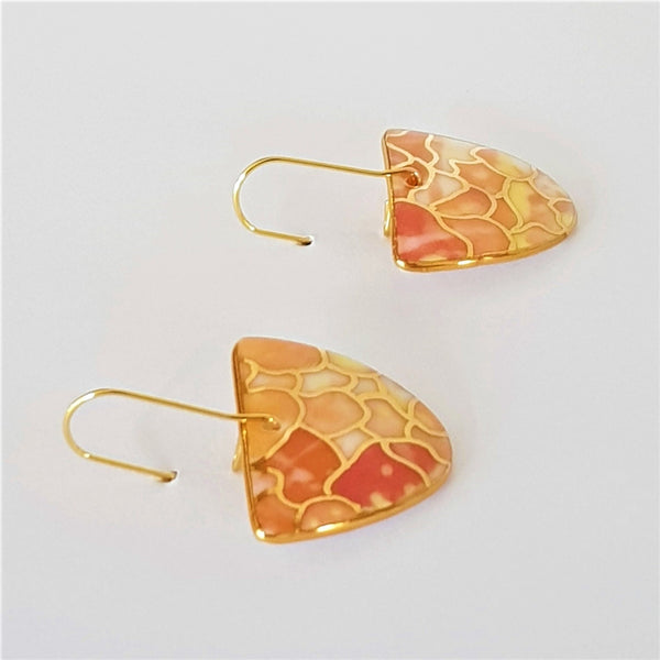 D Dangle porcelain earrings in warm tones with 22 kt gold linework