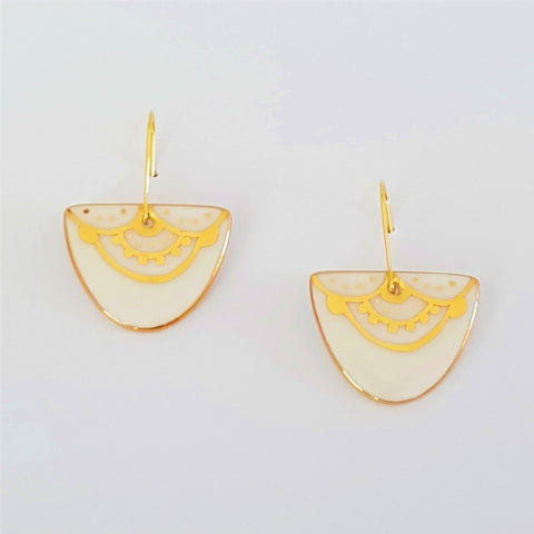 D dangle porcelain earrings in white with unique gold linework.