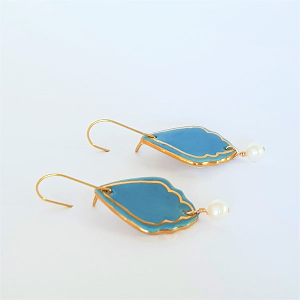 Mid blue porcelain dangle earrings with gold detailing and fresh water pearl drop