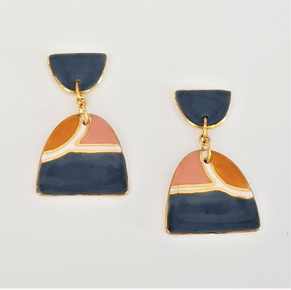 Soft blue-gray, mustard and dusty pink double drops earrings.
