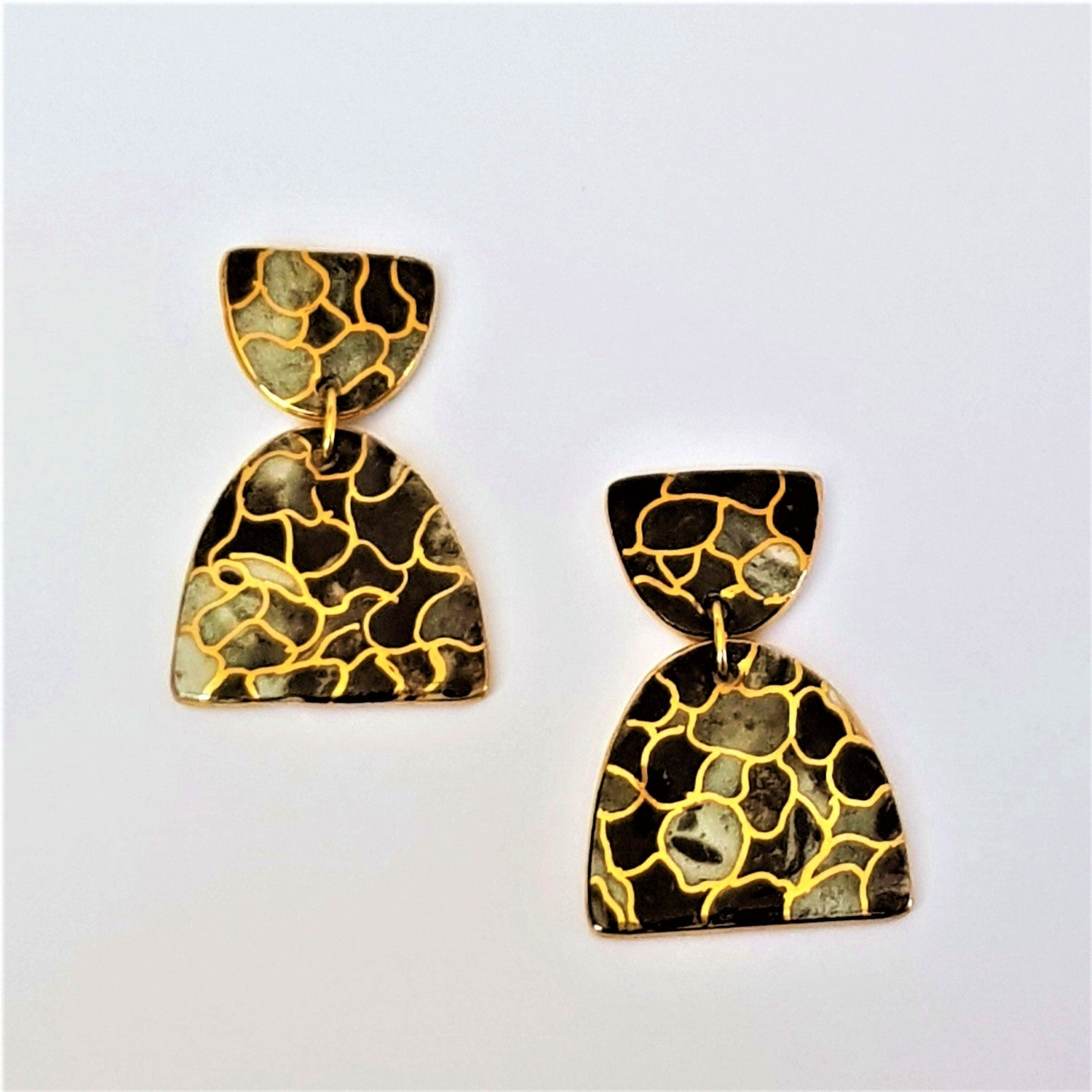 Porcelain statement earrings in black white and gold