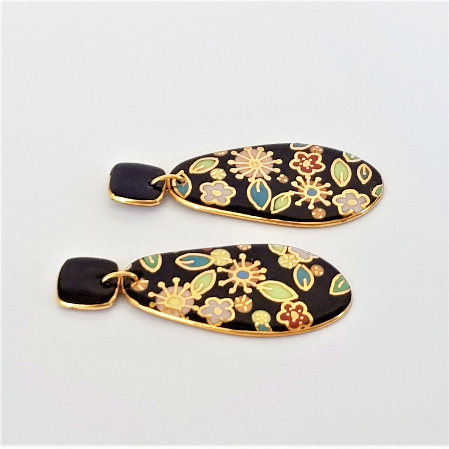 Porcelain double drop earrings - black with floral design and gold linework