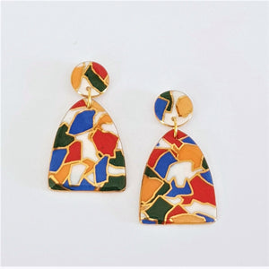 Brightly coloured porcelain drop earrings with gold linework