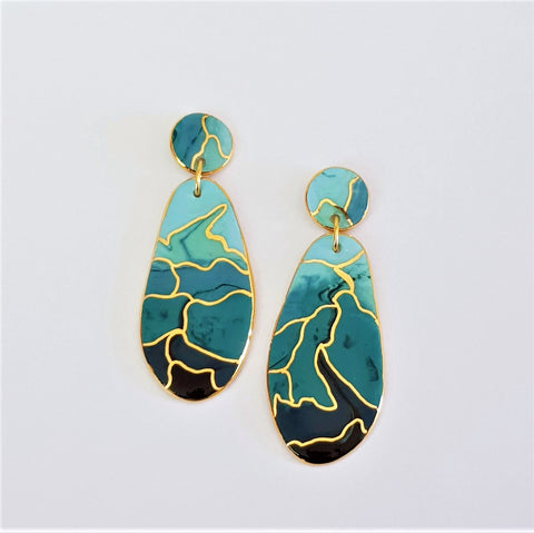 porcelain double drop earrings in graduated teal/ blue ones with gold linework