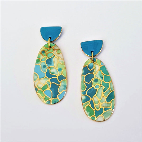 Porcelain double drop earrings in oceanic colours with 22 kt gold linework.