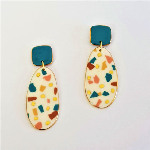 Porcelain double drops earrings. White terrazzo, autumn tones with teal top and gold.