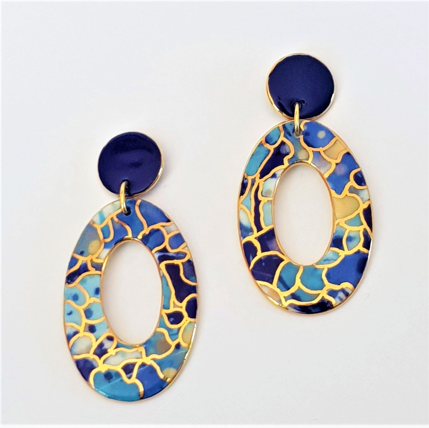 Porcelain stud top drop earrings in blues with gold highlights