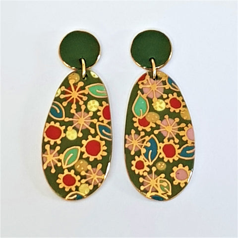green porcelain statement drop earrings with gold floral design
