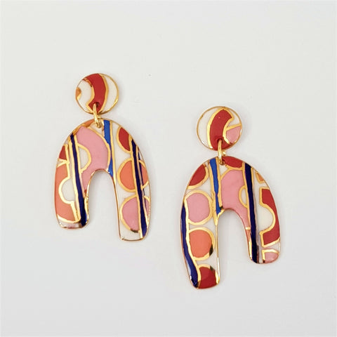 Double drop earrings , red and pink abstract horseshoes.
