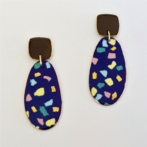 Porcelain double drops earrings. Indigo terrazzo, pastel tones with black top and gold.