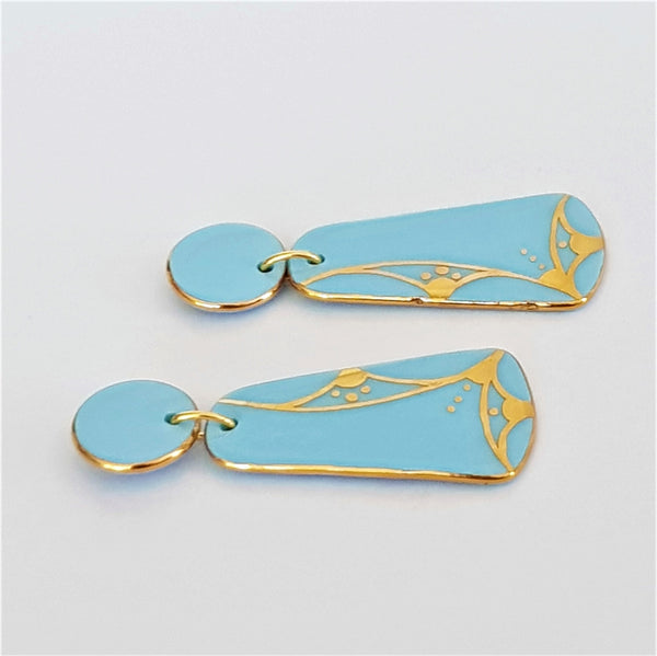 Pastel blue porcelain double drops with hand painted 22 kt gold linework