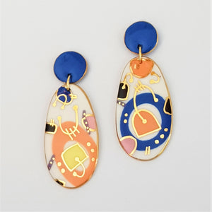 Double drops earrings. Bold abstract design with gold detail.
