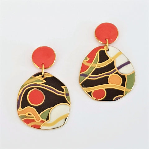 Modern statement earrings in black, white, green and red with gold