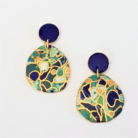 Deep blues and teal porcelain statement earrings with gold detailing
