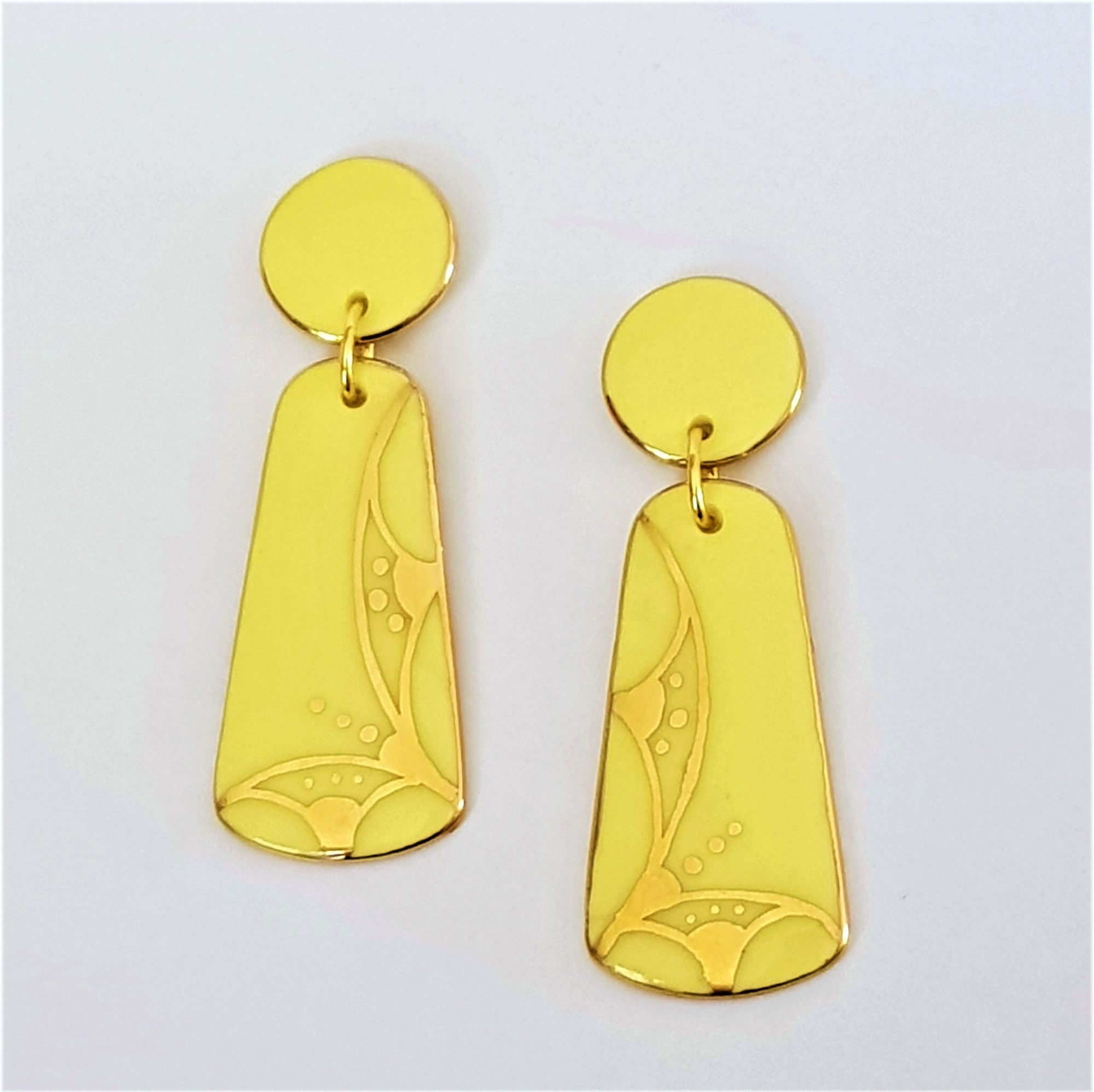 Lemon yellow porcelain double drop earrings with gold work