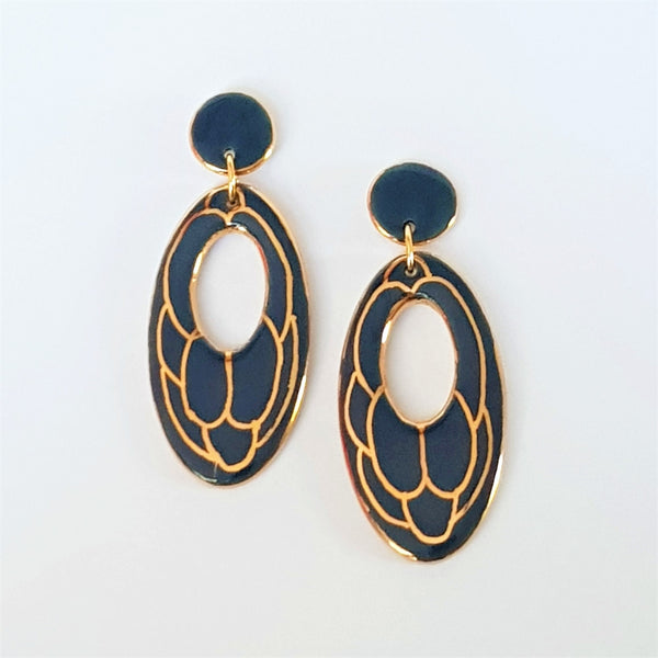 Porcelain oval double drop earrings in deep steel grey with gold linework