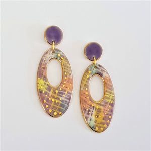 Elegant oval double drop porcelain earrings in pastels