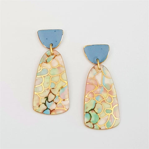 Double drops earrings in delicate pastels and 22 kt gold linework.