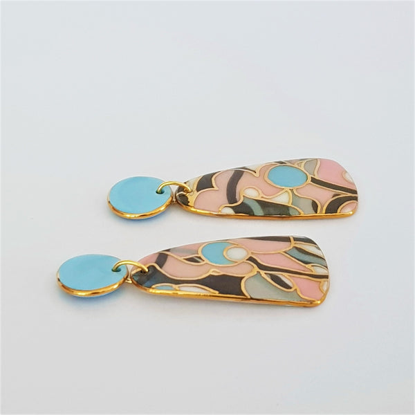 Soft pink, blue and gray porcelain double drop earrings with gold