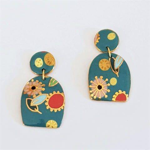 Porcelain double drop earrings in teal with floral design with gold