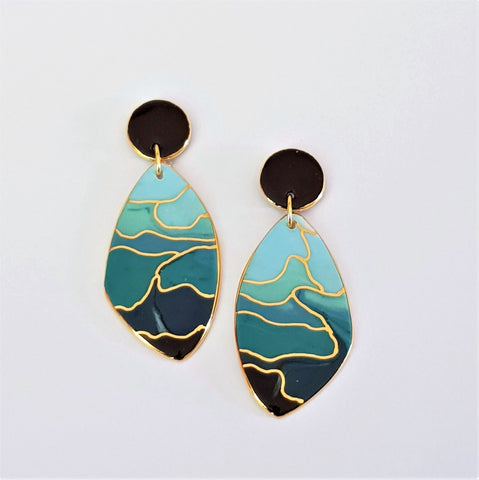 elegant porcelain statement earrings in graduated teal tones with gold highlights