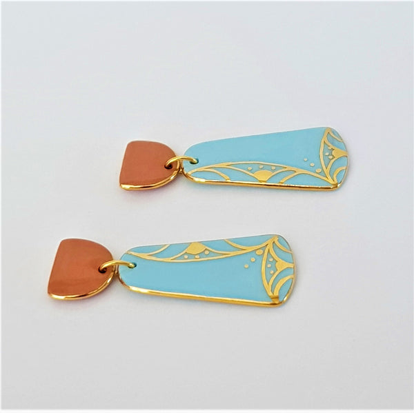 Soft blue and peach porcelain double drops earrings with 22kt gold linework.