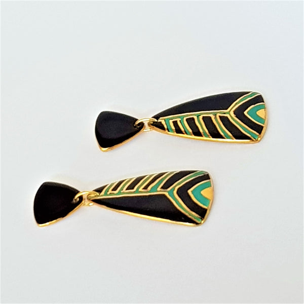 Elegant double drop porcelain earrings in black and teal green with gold linework