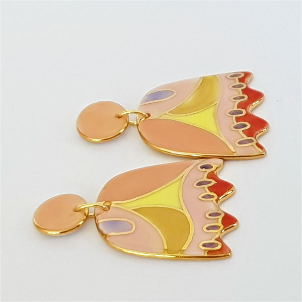 Funky tulip shaped porcelain double drop earrings