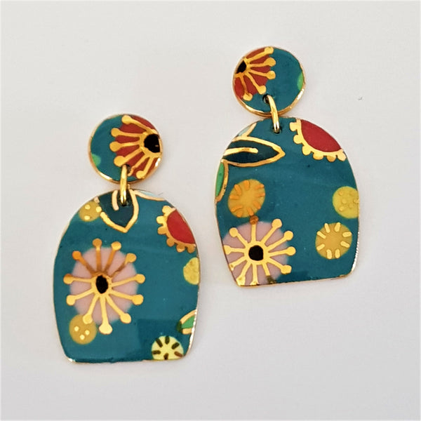 "Double drop turquoise ""Straya"" floral porcelain earrings"