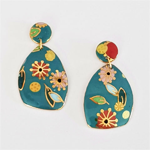 "Double drops ,turquoise ""Straya"" statement earrings"