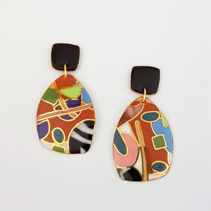 Large abstract earrings in earthy colours with gold linework.