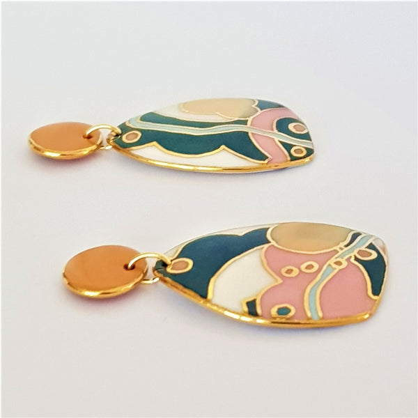 Bold porcelain earrings in green, mustards and pink with 22kt gold linework.