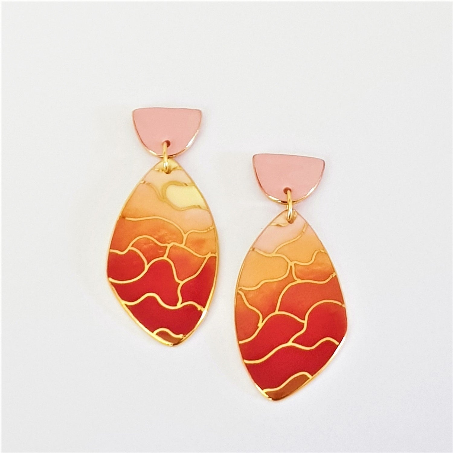 porcelain double drops earrings, sunset inspired wings