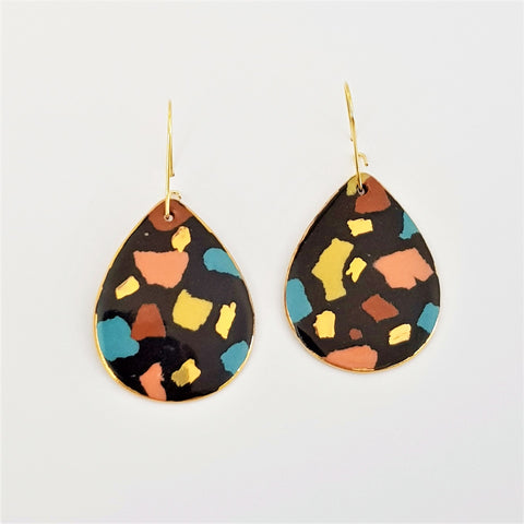 Black Terrazzo drop earrings