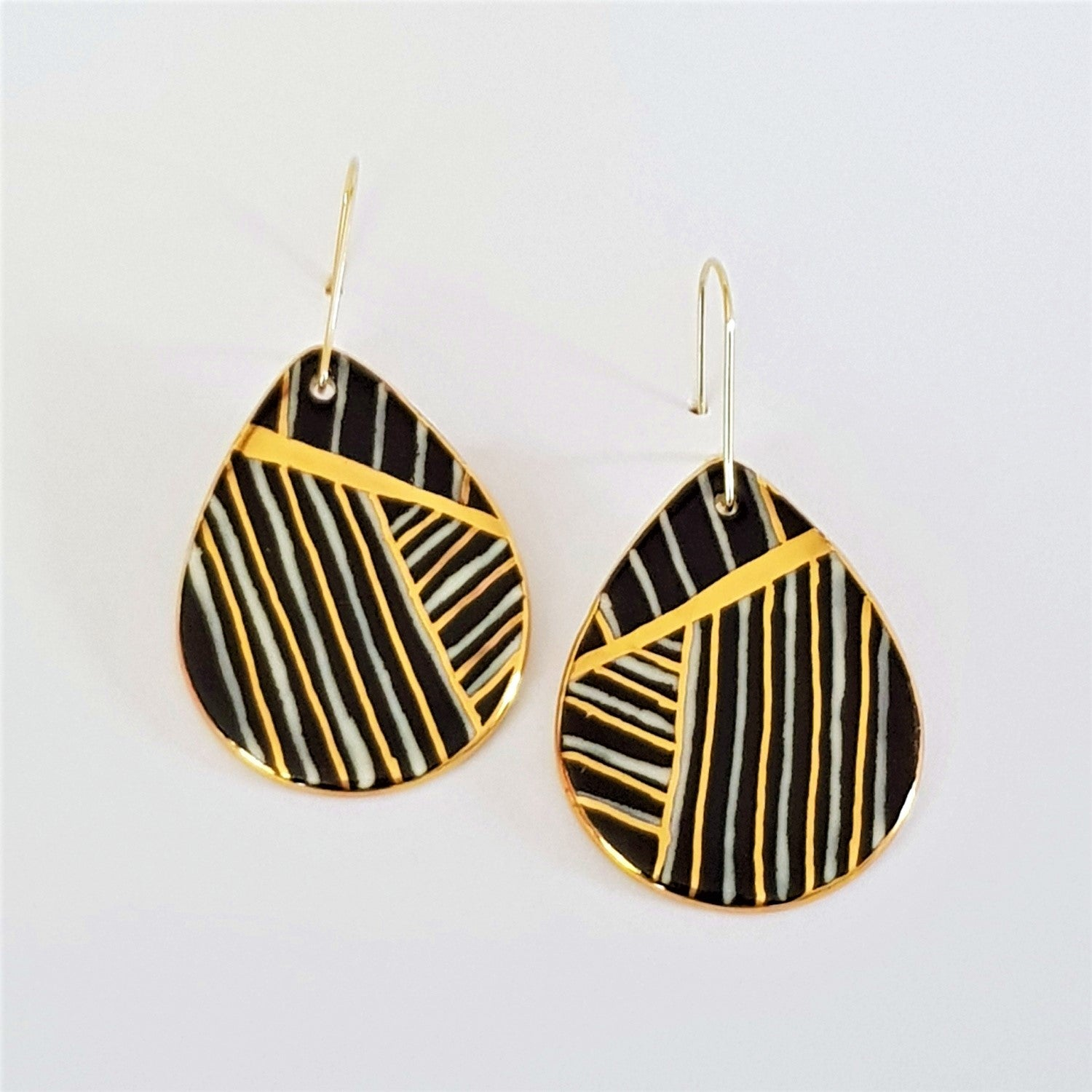 porcelain drop earrings - black and white with gold stripes