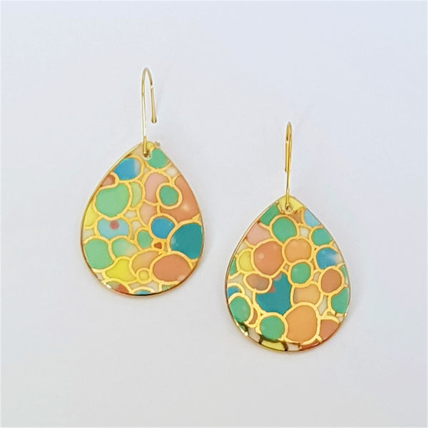 Bright pastel coloured porcelain drop earrings with gold linework