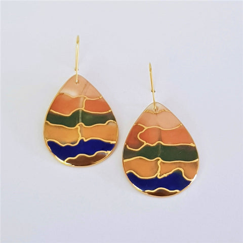 porcelain drop earrings earthy gradient with gold detailing